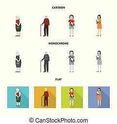 set, web., symbool, karakter, symbool., illustratie, vector, avatar, verticaal, liggen