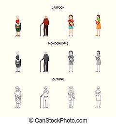 set, web., teken., karakter, illustratie, vector, avatar, verticaal, symbool, liggen