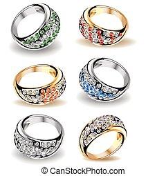 Set wedding rings and diamonds. Vector - Gold wedding rings ...