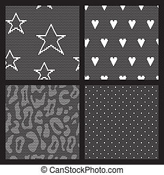 set, weefsel, patterns., seamless, vector, kant