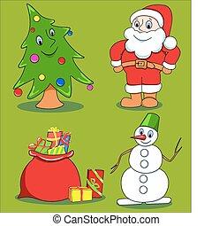 set., weihnachten, karikatur