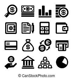 set., wektor, finanse, handlowe ikony
