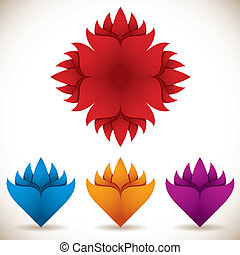 set., wektor, kwiat, barwny, ikony