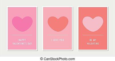 set, wenskaarten, dag, hart, valentines