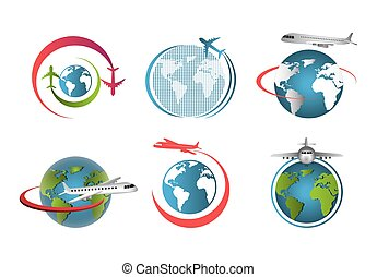 set, wereld, vliegen, vliegtuigen, ongeveer