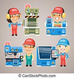 set, werkende , werkmannen , fabriek, spotprent, machines