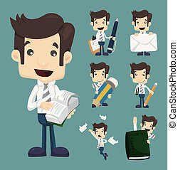 set, werkkring werker, karakters, zakenman, maniertjes
