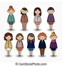 set, werkkring werker, vrouw, mooi, spotprent, pictogram