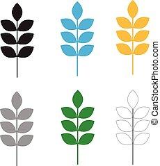 set wheat icon on white background. flat style design. set wheat sign.