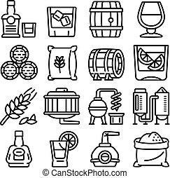 set, whisky, stile, icone, contorno