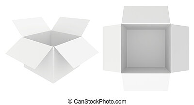 Set white cardboard paper isolated on background. 3d rendering