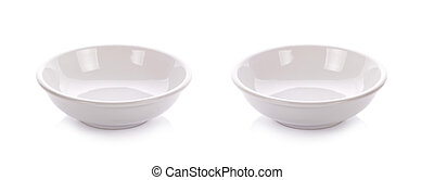 set White ceramic bowl on white background