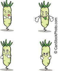 Set white radish character cartoon