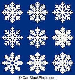 Set white Winter Snowflak