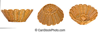 Set wicker basket on a white background