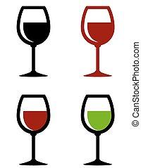 set, wijntje, glanzend, bril