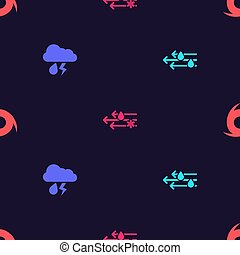 Set Wind and rain, Cloud with lightning, snow and Tornado on seamless pattern. Vector