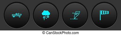Set Wind and snow, Cloud with rain, Tornado and Cone windsock wind vane icon. Vector