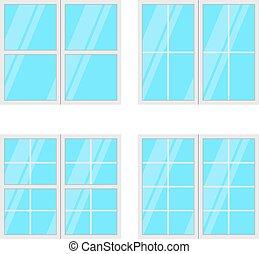 set, windows, isolato, fondo., vettore, bianco