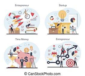 set., winstgevend, concept, zakelijk, idee, enterpreneur, achievement., strategie