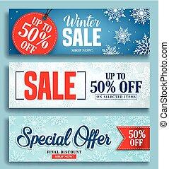 set, winter, kleurrijke, korting, etiketten, verkoop, sneeuw, teksten, vector, achtergrond, spandoek
