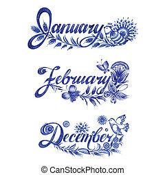 set, winter, naam, maand