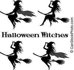 Witch Flying on Broom