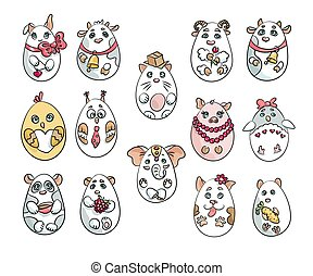 Set with 14 animals in a shape of eggs. These cute animals are made in one style