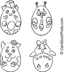 Set with 4 cute animals in a shape of Easter Eggs for coloring pages. There are cat, penguin, dog and owl.