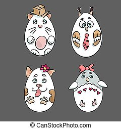Set with 4 cute animals in a shape of Eatser Eggs. There are a cat with a box, an owl with a tie, a dog with a flower and a pinguin with a bow