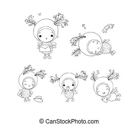 Set with a cheerful insect. Forest Fairy. Cute Elf. Cartoon fly.