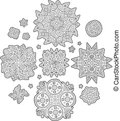 Set with abstract elements for coloring book pages
