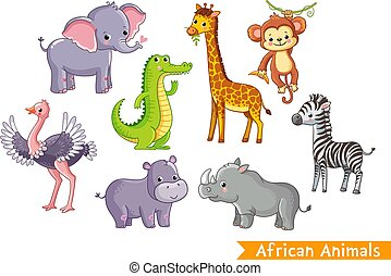 Set with animals of Africa in cartoon style.