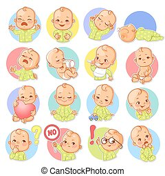 Set with baby sticker. Different emotions.