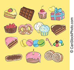 Set with bake and sweets. Background colorful various candy, cakes