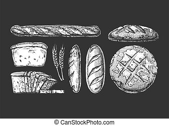 Set with bakery products.