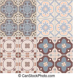 Set with Beautiful ornamental tile background. Vector illustration for patterns