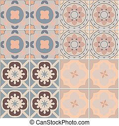Set with Beautiful seamless ornamental tile background vector illustration