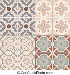 Set with Beautiful seamless ornamental tile background. Vector illustration