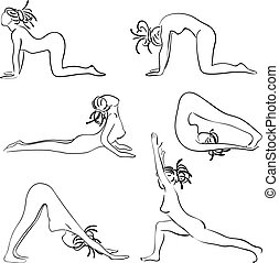 Set with beautiful woman in various poses of yoga. Vector...