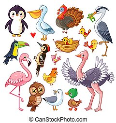 Set with birds. Vector illustration with animals.
