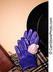 Set with blue autumn gloves