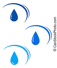 set with blue water drops