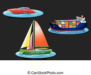set with boats