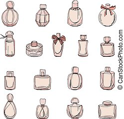 Set with bottles of woman perfume isolated on white. Objects on white background for fashion design.