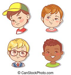 Set with boys faces. Userpics for blog.
