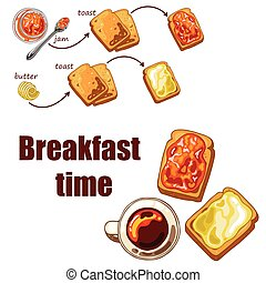 Set with breakfast food: toast bread, jam and butter