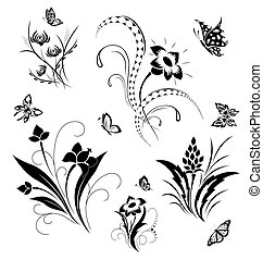 Set with butterflies and flower pat - Set with the vector ...