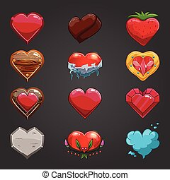 Set with cartoon hearts