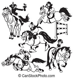 set with cartoon horse riders - set with cartoon horse...